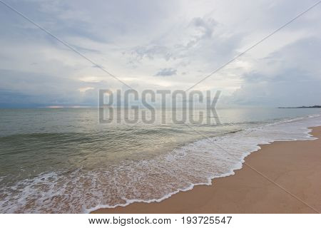 Empty sea and sand beach background on Cha Um Thailand