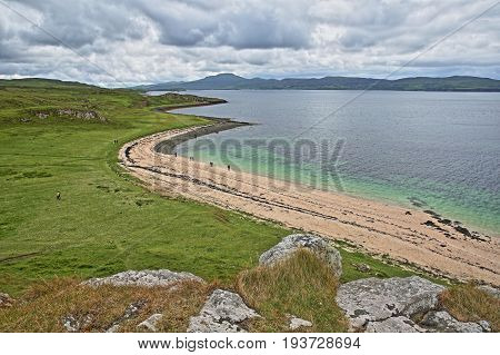 View of Coral Beach, a short walk from Claigan on the shore of Loch Dunvegan, Isle of Skye, Highlands, Scotland, UK