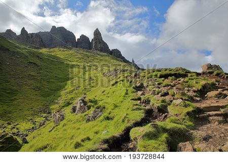 View of the Storr cliffs, walk to the Old Man of Storr, Isle of Skye, Highlands, Scotland, UK