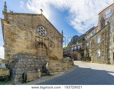 MONSANTO,PORTUGAL - MAY 16,2017 - View at the church Matriz of Sao Salvador in Monsanto village. Monsanto has become popularly known as