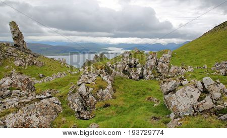 View from the mountain Ben Tianavaig towards the South, Isle of Skye, Highlands, Scotland, UK