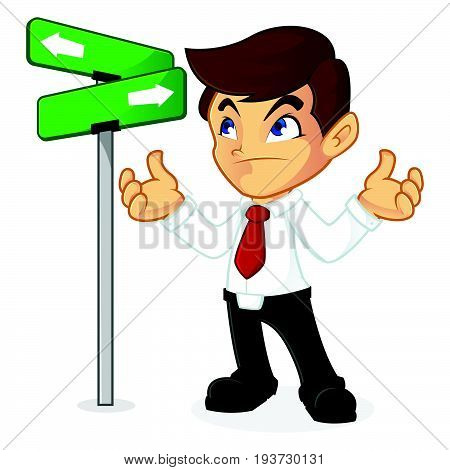 Businessman Choosing Direction In Crossroad