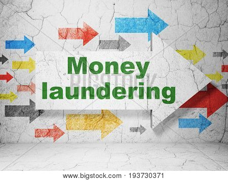 Currency concept:  arrow with Money Laundering on grunge textured concrete wall background, 3D rendering