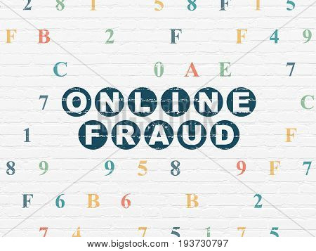 Protection concept: Painted blue text Online Fraud on White Brick wall background with Hexadecimal Code