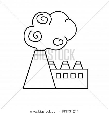 line industrial factory pollution with toxic pollution vector illustration