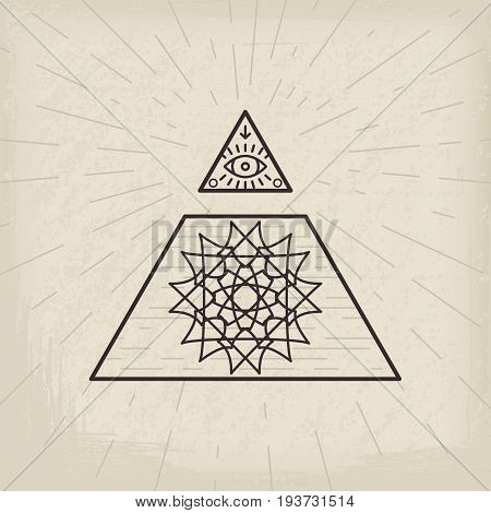 All seeing eye and magic circular symbol inside triangle pyramid. Vintage esoteric background.