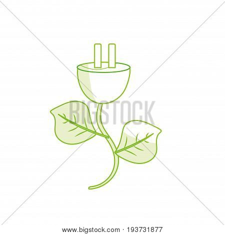 silhouette power cable with leaves to environment care vector illustration