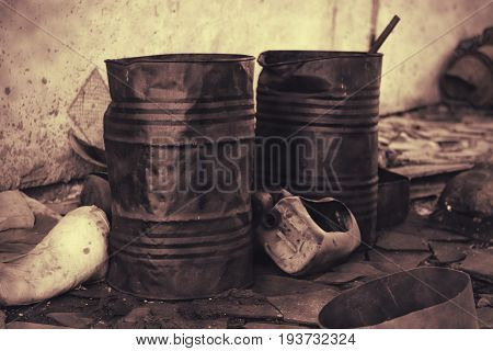 Worn Metal Barrel With Fuel Oil. Industrial Background.