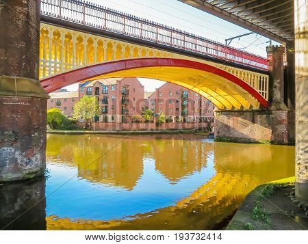 Bridges and canals of the Castlefield an inner city conservation area, Manchester, England, United Kingdom