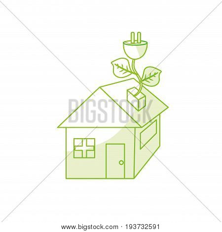 silhouette house with power cable with leaves to reduce energy vector illustration