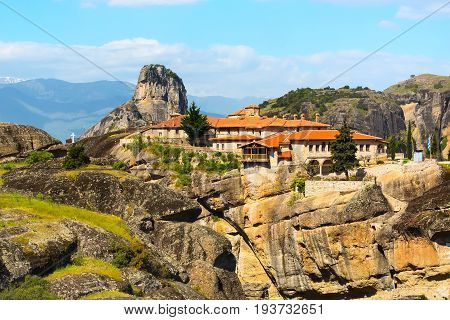 Agios Stefanos St Stefan Monastery on Meteora rocks aerial panoramic view, Greece