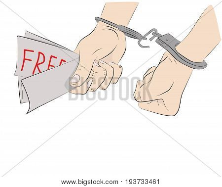 Hands with broken shackles. The concept of freedom and independence. Hand drawn cartoon vector illustration for design and infographics.