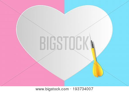 vector target is heart, yellow dart with paper white heart shaped on a left side pink background with right side blue  background, beautiful illustration minimalist, love is concept.