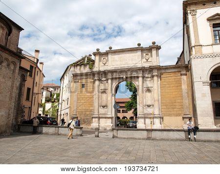 PADUA ITALY - MAY 3 2016: Arco Valaresso near Piazza Duomo in Padua Italy