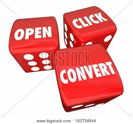 Open Click Convert Dice Words Marketing Advertising 3d Illustration