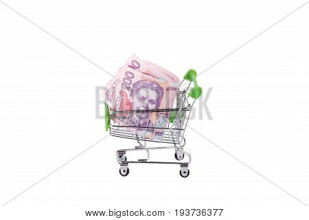 Two Hundred Hryvnias In The Shopping Pushcart, Isolated