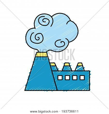 industrial factory pollution with toxic pollution vector illustration