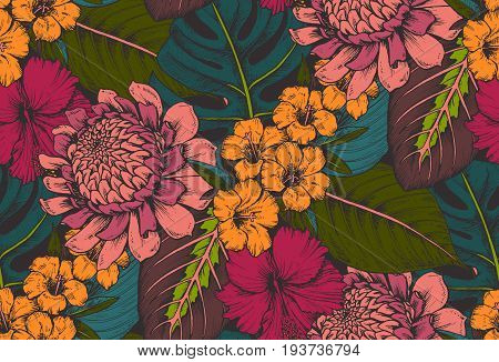 Vector seamless pattern with compositions of hand drawn tropical flowers, palm leaves, jungle plants, paradise bouquet. Beautiful colorful floral endless background