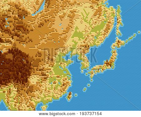 Vector physical map of East Asia stylized using embossed hexagons. Colored according to relief.