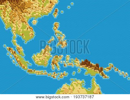 Vector physical map of Southeast Asia stylized using embossed hexagons. Colored according to relief.