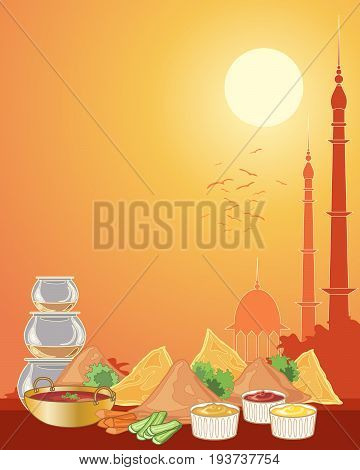 an illustration of a selection of indian snacks including samosas in a sunset urban city landscape