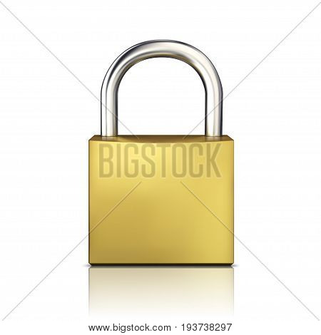 Gold closed padlock vector isolated on white background .