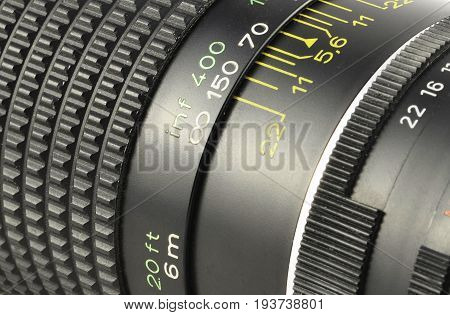 close-up image of photographic lens (zoom and diaphragm control)