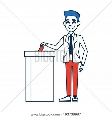 voting election concept with man putting vote paper in the ballot box vector illustration