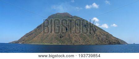 Panoramic shot of Stromboli Island - Messina - Sicily - Italy