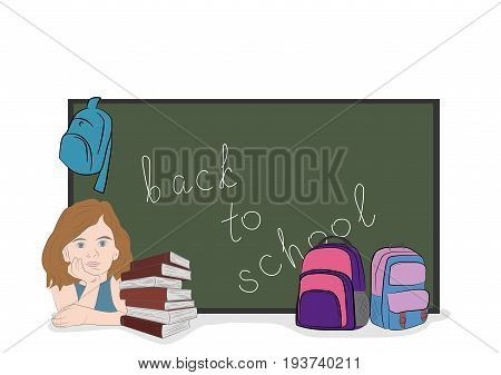 The schoolgirl sits behind books. School subjects. Hand drawn cartoon vector illustration for design and infographics.