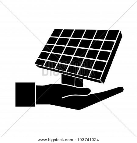 contour hand with solar energy element to reuse energy vector illustration
