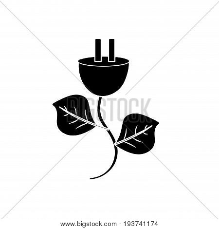 contour power cable with leaves to environment care vector illustration