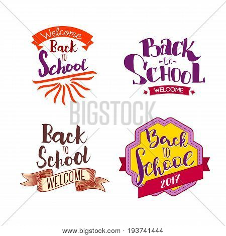 Welcome back to school labels. School tags set. Back to school logo collection. Vector illustration. Hand drawn lettering badges. Typography emblem set. Retro styled