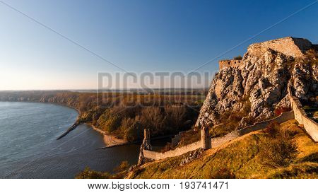 Devin Castle Ruins Above The Danube River, Slovakia, Europe.
