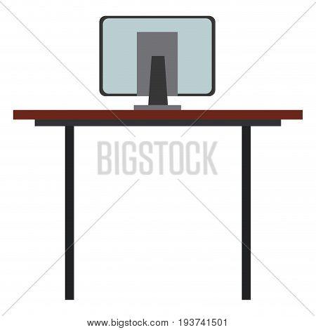 desk computer office work space vector illustration