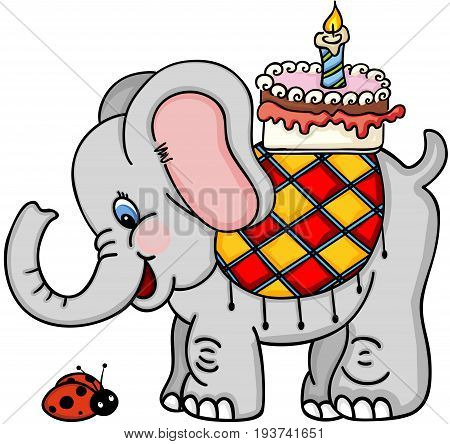 Cute elephant with birthday cake and ladybird