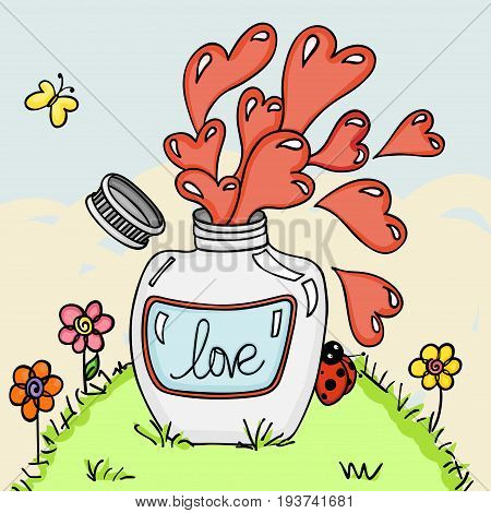 Love potion bottle in green grass background