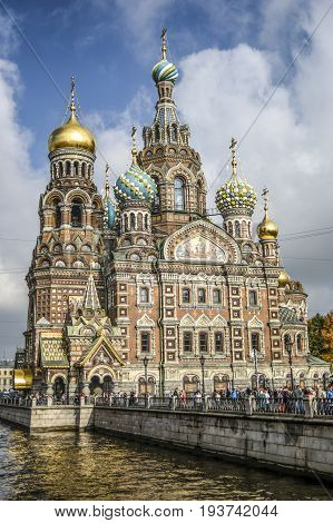 Petersburg Russia October 3 2016: Cathedral of the Resurrection Orthodox Church of the Blood in Petersurg Russia.