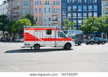 Berlin Germany -May 31 2017: medical Department service car. 112 is the single European emergency number that can be dialed free of charge is used for fire and medical emergency