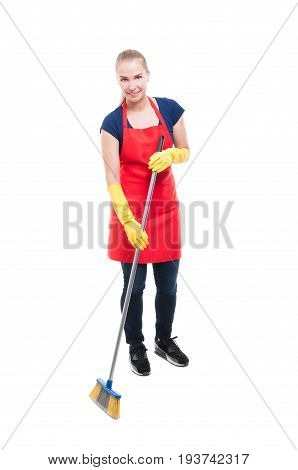 Beautiful Housekeeper Sweeping The Floor