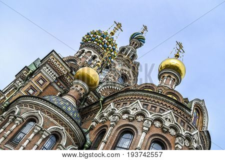 Cathedral of the Resurrection Orthodox Church of the Blood in Petersurg Russia.