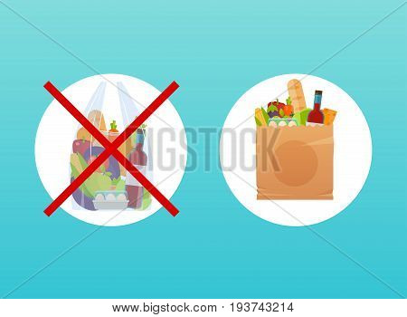 The choice between paper or cellophane bag. Ecological concept. Product packing.