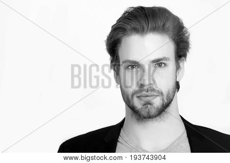 bearded man with long beard happy unshaven businessman with stylish hair in black jacket isolated on white background Black and white retro vintage style