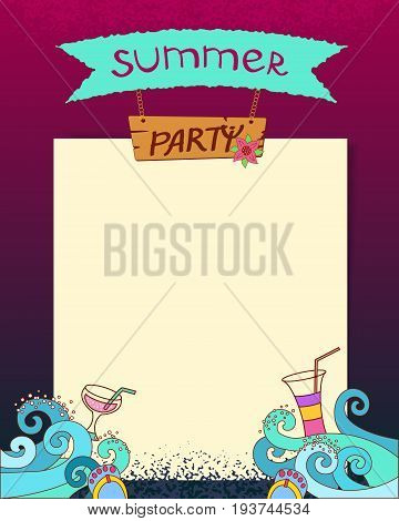 Summer Party. Vector Cartoon Hand Drawn Summer Background With Sea Waves At Night And Coctails. Summ