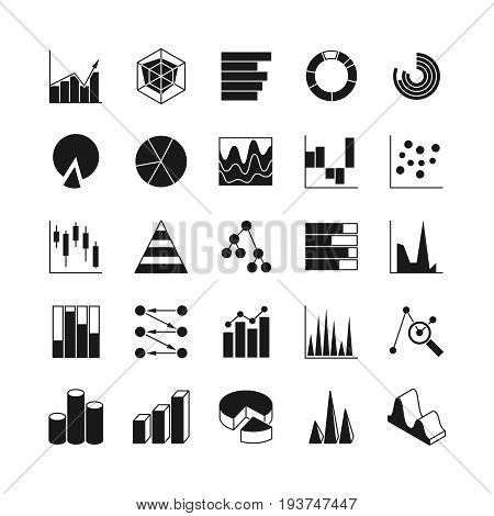 Data bar graphic and statistics charts vector icons. Growth line business diagram simple web symbols. Graphic data and diagram bar illustration