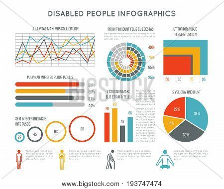 Healthcare and disability vector infographic with disabled person icons, charts and diagrams. Medical infographic disability people illustration