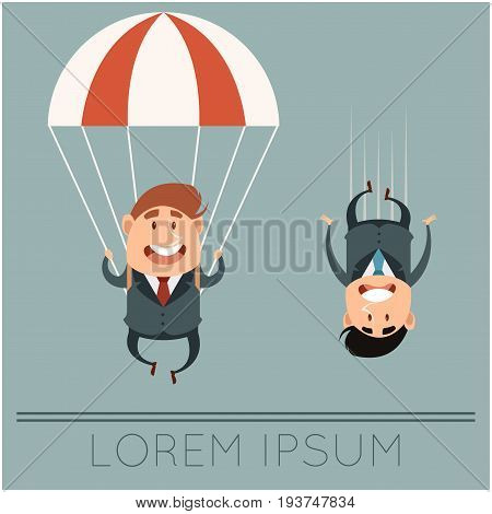 vector image of the Business concept about parachute