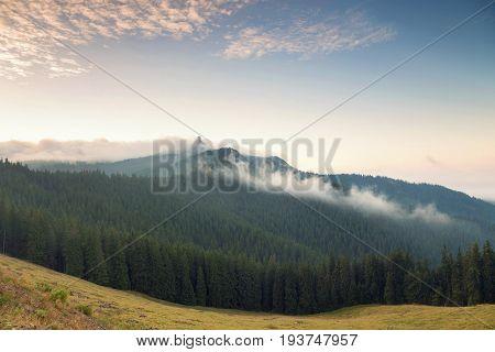 Beautiful summer landscape of the romanian village, in Bucovina