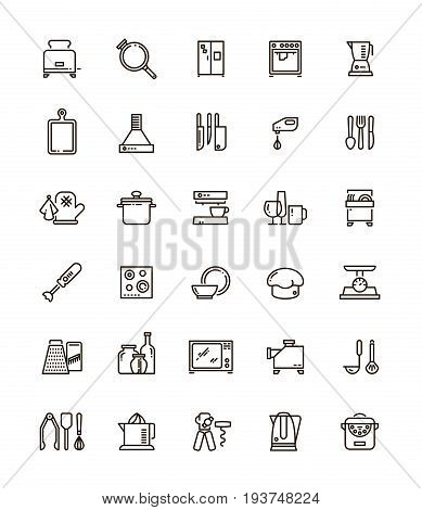 Cuisine, kitchen tools and appliances line vector icons. Restaurant cooking pictograms. Kitchen tools and utensil illustration