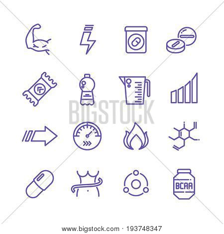 Sports vitamins and food supplements thin line vector icons. Fat burning pills and energy drinks pictograms. Sport vitamin nutrition for fitness and energy illustration